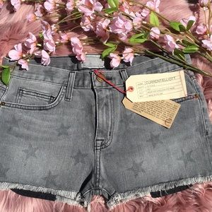 Current Elliott The Boyfriend Gray Star Shorts